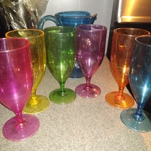 Multi color pitcher and glass set